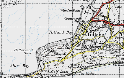 Old map of Totland Bay in 1945