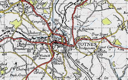 Old map of Totnes in 1946