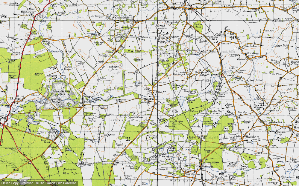 Old Map of Historic Map covering Tommy's Belt in 1946