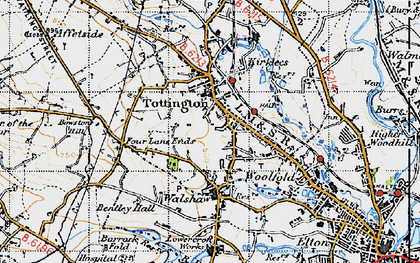Old map of Tottington in 1947