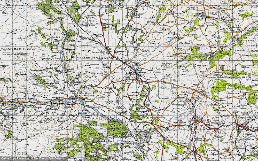 Old Map of Tow Law, 1947 in 1947