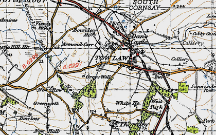 Old map of Tow Law in 1947