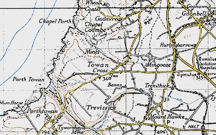 Old map of Towan Cross in 1946