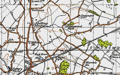 Old map of Tower Hill in 1947