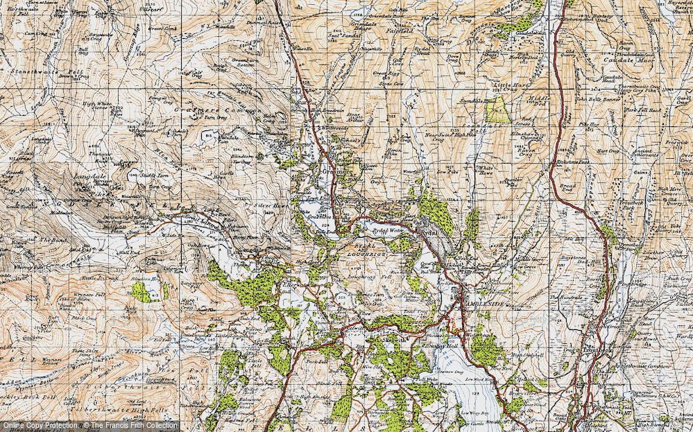 Old Map of Historic Map covering Alcock Tarn in 1947