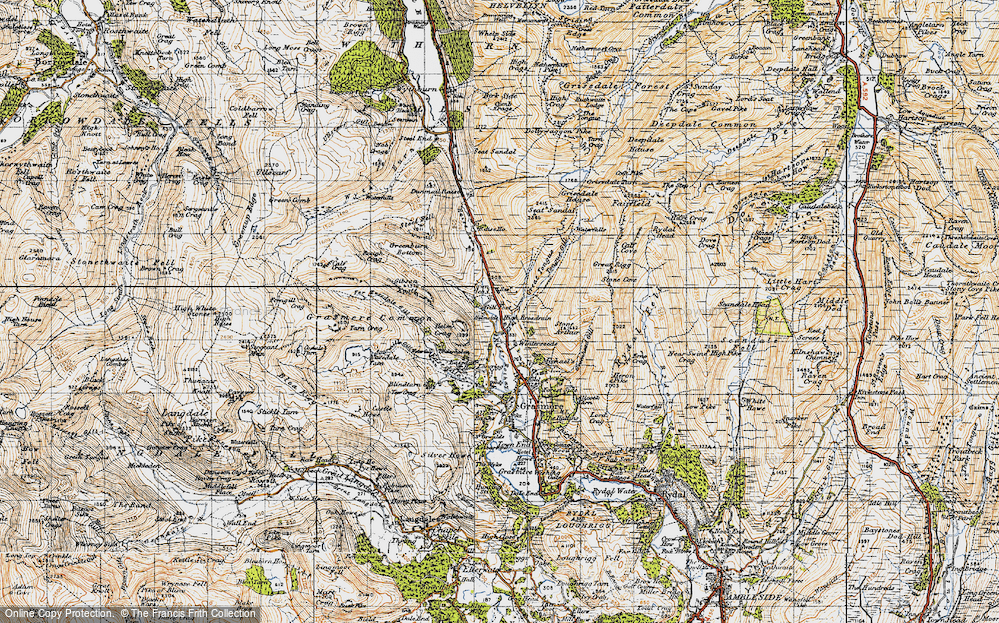 Old Map of Historic Map covering Tongue Gill in 1947