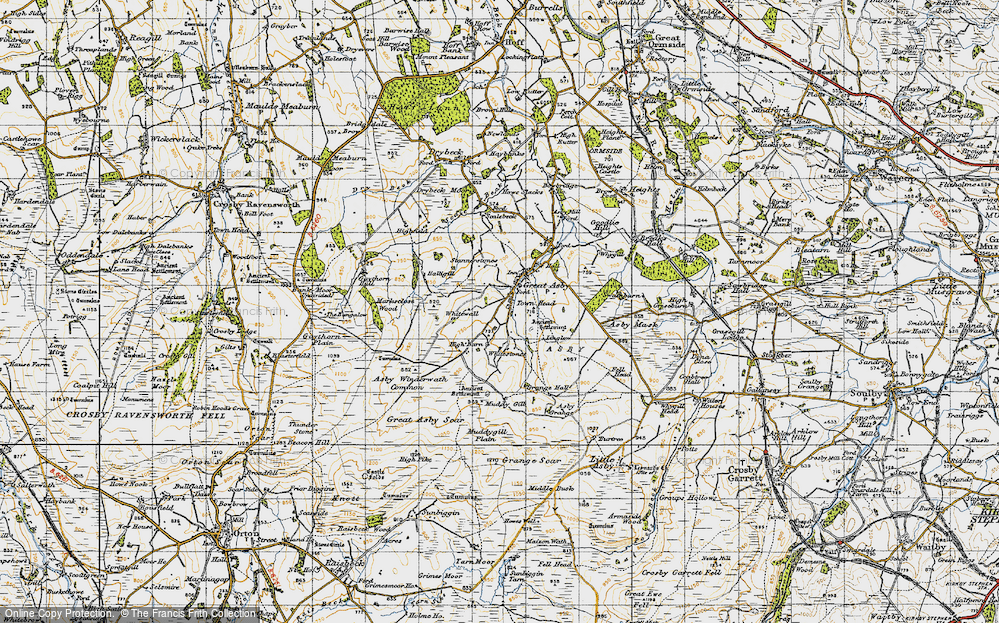 Old Map of Historic Map covering Asby Winderwath Common in 1947