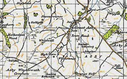Old map of Whitewall in 1947