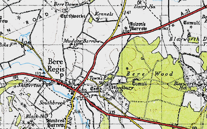 Old map of Woodbury Hill (Fort) in 1945