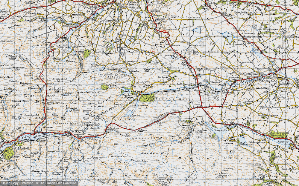 Old Map of Historic Map covering Laund Clough in 1947