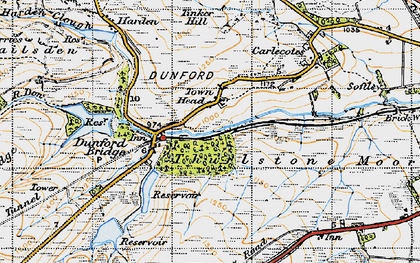 Old map of Langsett Moors in 1947