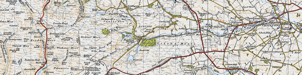 Old map of Wogden Clough in 1947