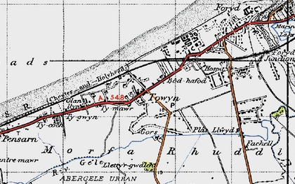 Old map of Towyn in 1947