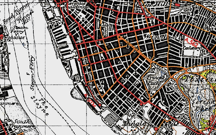 Old map of Albert Dock in 1947