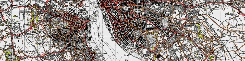 Old map of Albert Dock in 1947