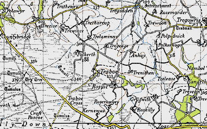 Old map of Traboe in 1946