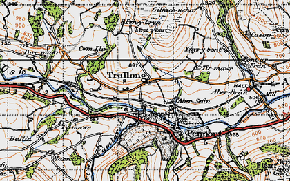 Old map of Abercamlais in 1947