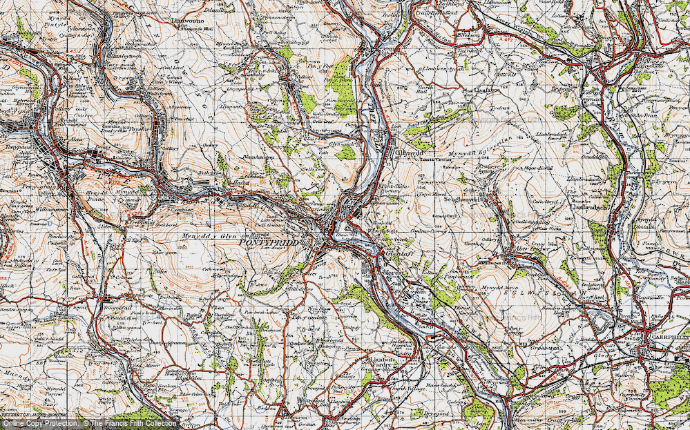 Old Map of Historic Map covering Y Carreg Siglo in 1947