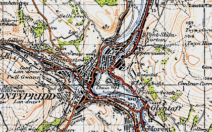 Old map of Y Carreg Siglo in 1947