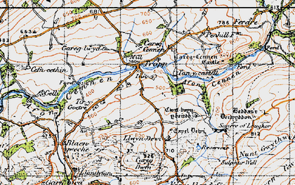 Old map of Afon Cennen in 1947