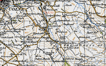 Old map of Trawden in 1947