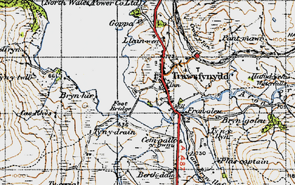 Old map of Afon Crawcwellt in 1947