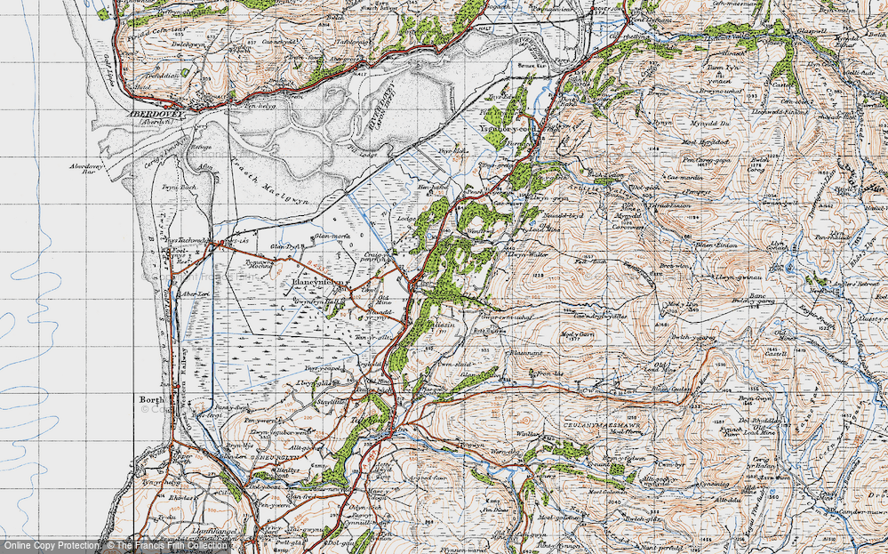 Old Map of Historic Map covering Afon Cetwr in 1947