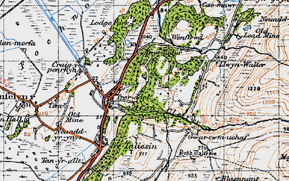 Old map of Afon Cetwr in 1947