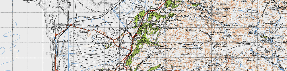 Old map of Ynystudor in 1947