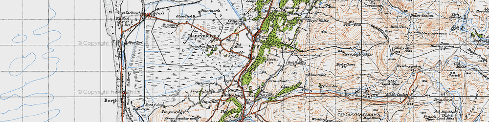 Old map of Tre Taliesin in 1947