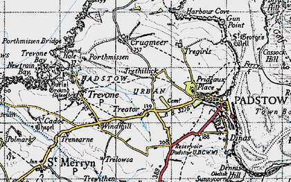 Old map of Treator in 1946