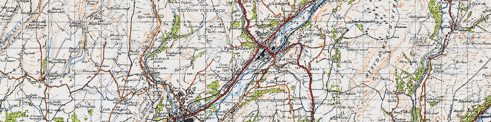 Old map of Trebanos in 1947