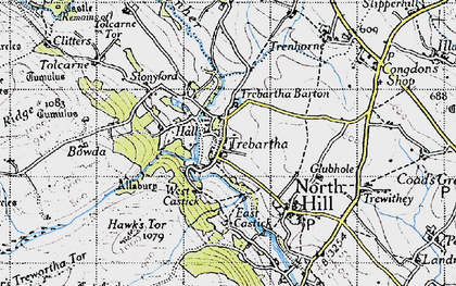 Old map of Trebartha in 1946