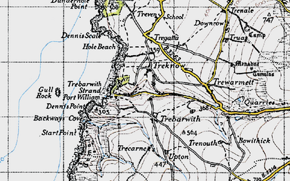 Old map of Trebarwith in 1946