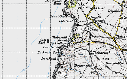 Old map of Backways Cove in 1946