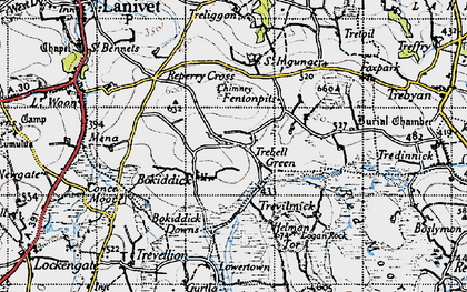 Old map of Trebell Green in 1946