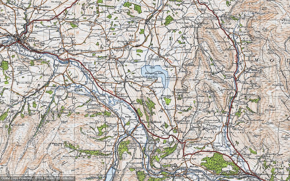 Old Map of Historic Map covering Allt y Esgair in 1947
