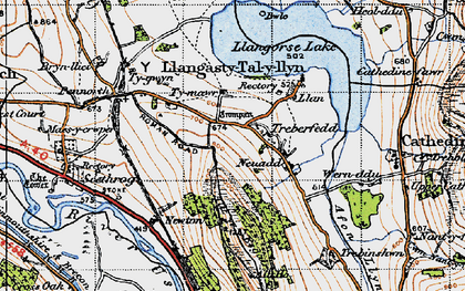 Old map of Allt y Esgair in 1947