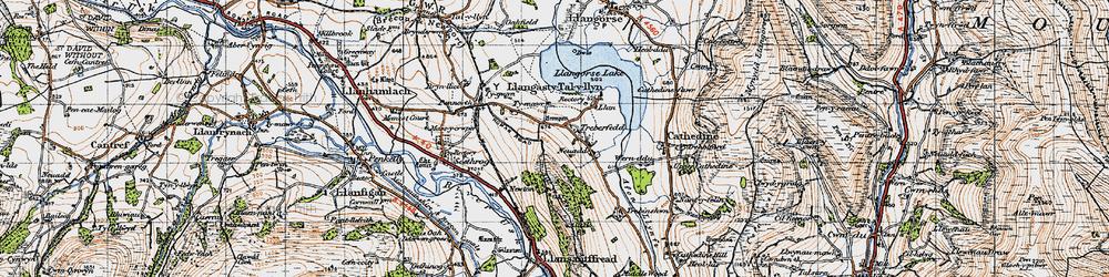 Old map of Allt y Esgair in 1947