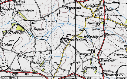 Old map of Trebudannon in 1946