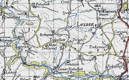 Old map of Trebullett in 1946