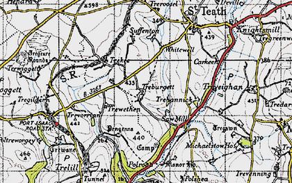 Old map of Treburgett in 1946