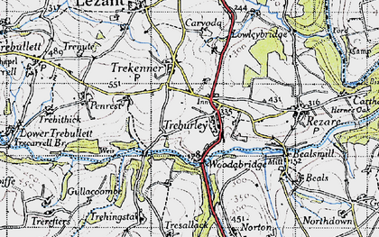 Old map of Treburley in 1946