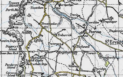 Old map of Treburrick in 1946