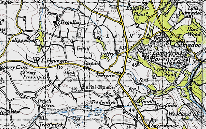 Old map of Trebyan in 1946