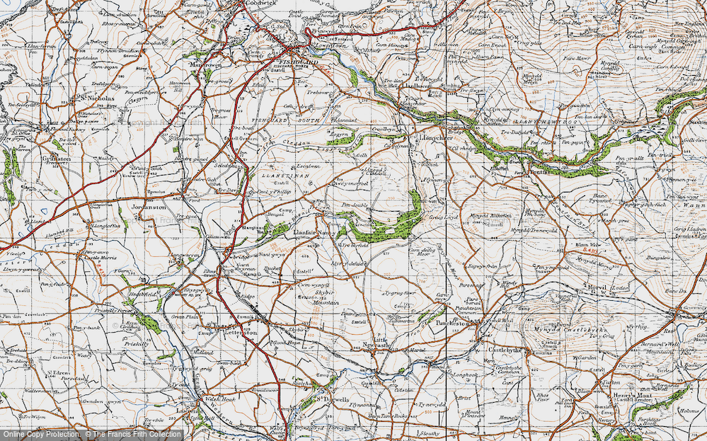 Old Map of Historic Map covering Allt yr Yn in 1946