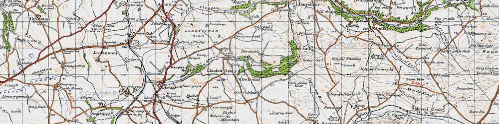 Old map of Ysgubor Mountain in 1946