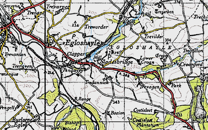 Old map of Tredannick in 1946