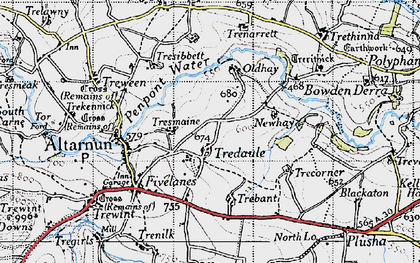 Old map of Tredaule in 1946