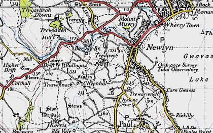 Old map of Tredavoe in 1946